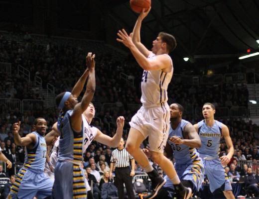 Junior Kellen Dunham rises for a shot during a 73-52 win over Marquette at Hinkle Fieldhouse Wednesday night.