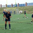 The Butler women's soccer team practices a drill. Photo by Michael Brown